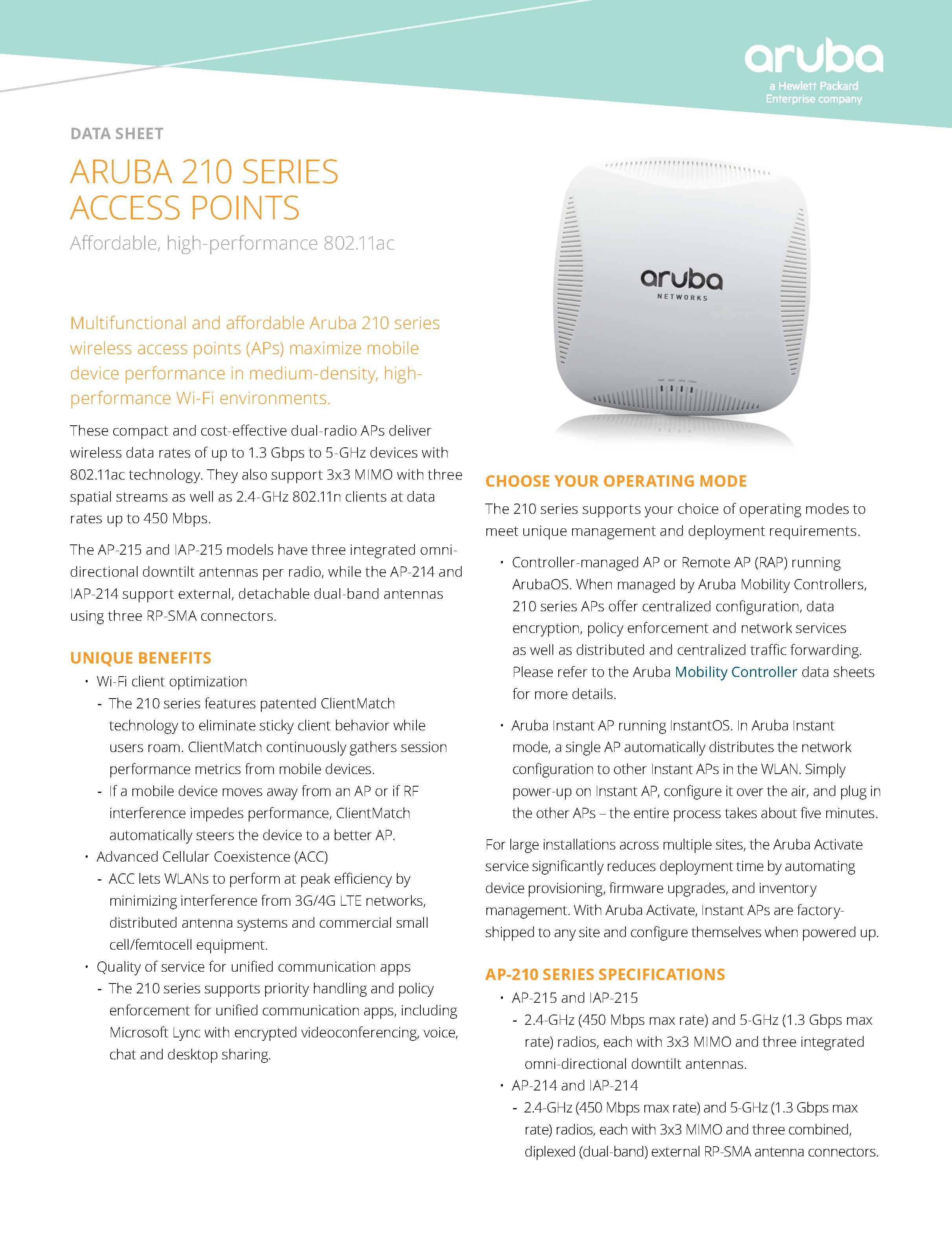 Aruba Network HPE Instant IAP-215-RW Indoor Fat Wireless