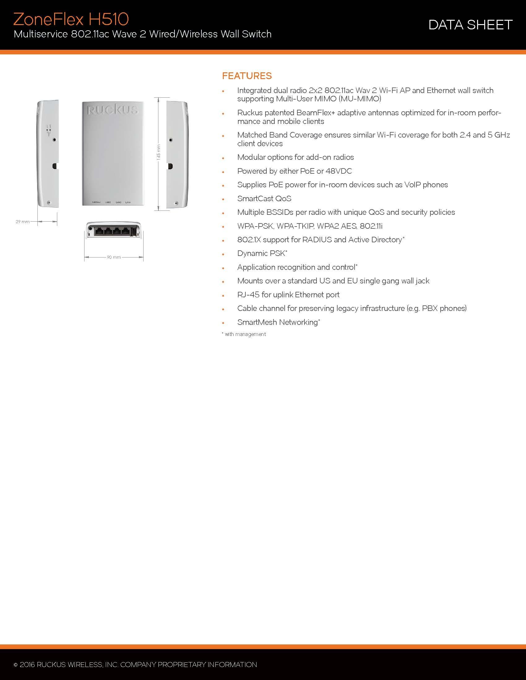 Ruckus Wireless ZoneFlex H510 901-H510-WW00 Indoor Wireless